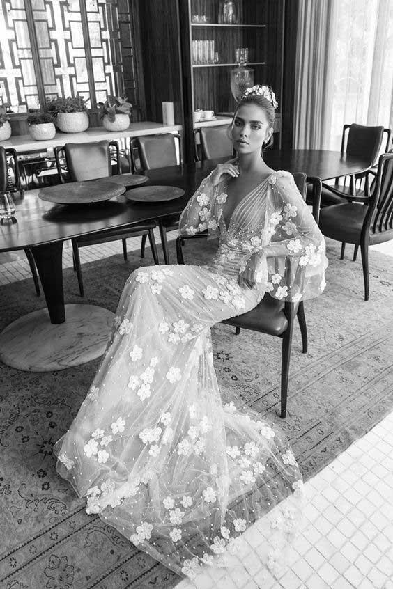 مدل لباس عروس آستین دار پوشیده جدید